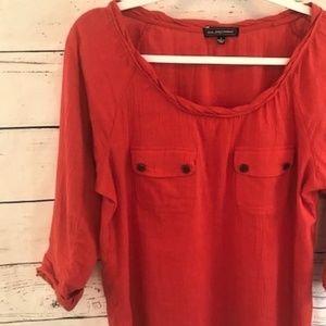 Anthropologie One September fall orange blouse